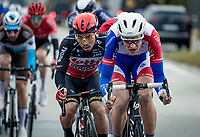 Stefan Küng (SUI/Groupama-FDJ) & Caleb Ewan (AUS/Lotto-Soudal) leading the race<br /> <br /> 44th AG Driedaagse Brugge-De Panne 2020 (1.UWT / BEL)<br /> 1 day race from Brugge to De Panne (203km shortened to 188km due to the windy weather conditions) <br /> <br /> ©kramon