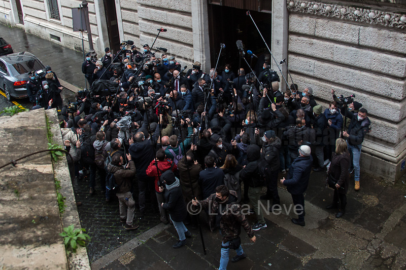 Rome, Italy. 09th Feb, 2021. Silvio Berlusconi, former Italian Prime Minister and President of Forza Italia Party arrives at the Italian Parliament to have a meeting with the designated Italian Prime Minister - and former President of the European Central Bank -, Mario Draghi. Today is the last day of Mario Draghi's consultations at Palazzo Montecitorio, meeting delegations of the Italian political parties in his attempt to form the new Italian Government.