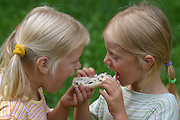 Mädchen mit Blüten vom Gänseblümchen auf einem Brötchen, essbar, Bellis perennis, English Daisy, Pâquerette