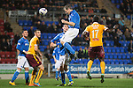 St Johnstone v Motherwell....31.10.14   SPFL<br /> Frazer Wright's header is saved by Dan Twardzik<br /> Picture by Graeme Hart.<br /> Copyright Perthshire Picture Agency<br /> Tel: 01738 623350  Mobile: 07990 594431