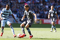 ST. PAUL, MN - AUGUST 21: Wil Trapp #20 of Minnesota United FC with the ball during a game between Sporting Kansas City and Minnesota United FC at Allianz Field on August 21, 2021 in St. Paul, Minnesota.