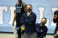 CHAPEL HILL, NC - FEBRUARY 24: Head coach Steve Wojciechowski of Marquette during a game between Marquette and North Carolina at Dean E. Smith Center on February 24, 2021 in Chapel Hill, North Carolina.