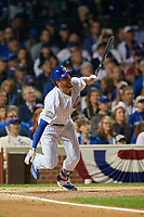 Chicago Cubs Kris Bryant (17) bats in the first inning during Game 3 of the Major League Baseball World Series against the Cleveland Indians on October 28, 2016 at Wrigley Field in Chicago, Illinois.  (Mike Janes/Four Seam Images)