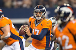 Denver Broncos quarterback Brock Osweiler (17) in action during the pre-season game between the Denver Broncos and the Dallas Cowboys at the AT & T stadium in Arlington, Texas. Denver leads Dallas 10 to 3 at halftime.
