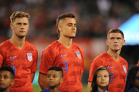 EAST RUTHERFORD, NJ - SEPTEMBER 7: Walker Zimmerman #4 of the United States, Aaron Long #3 of the United States, Wil Trapp #6 of the United States during the presentation of the team during a game between Mexico and USMNT at MetLife Stadium on September 6, 2019 in East Rutherford, New Jersey.