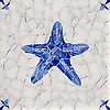 Starfish Delft, a hand-cut cut jewel glass mosaic, shown in  Opal Sea Glass™ with jewel glass Lapis Lazuli, Iolite, and Covelite, is part of the Sea Glass™ Collection by New Ravenna.