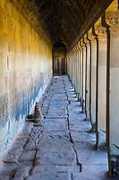 Cambodia, Angkor Wat.  Outer Corrido, West Side of Temple.
