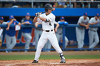 Stuart Fairchild (4) of the Wake Forest Demon Deacons at bat against the Florida Gators in the completion of Game Two of the Gainesville Super Regional of the 2017 College World Series at Alfred McKethan Stadium at Perry Field on June 12, 2017 in Gainesville, Florida. The Demon Deacons walked off the Gators 8-6 in 11 innings. (Brian Westerholt/Four Seam Images)