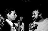 July 1985 File Photo - Jean-Pierre Ferland (L) talk with LA PRESSE,s entertainment  critic Jean Beaunoyer (R) at  Festival Juste Pour Rire Gala