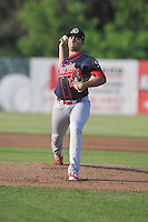 Peoria Chiefs starting pitcher Derian Gonzalez (16) throws during the Midwest League game against the Burlington Bees at Community Field on June 9, 2016 in Burlington, Iowa.  Peoria won 6-4.  (Dennis Hubbard/Four Seam Images)