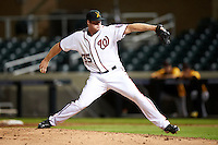 Salt River Rafters pitcher Aaron Barrett #35, of the Washington Nationals organization, during an Arizona Fall League game against the Scottsdale Scorpions at Salt River Fields at Talking Stick on October 11, 2012 in Scottsdale, Arizona.  Salt River defeated Scottsdale 6-5.  (Mike Janes/Four Seam Images)