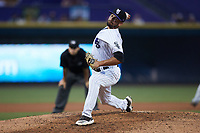 Winston-Salem Dash relief pitcher Vince Arobio (22) in action against the Hickory Crawdads at Truist Stadium on July 10, 2021 in Winston-Salem, North Carolina. (Brian Westerholt/Four Seam Images)