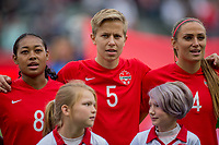 CARSON, CA - FEBRUARY 9: Jayde Riviere #8, Rebecca Quinn #5 and Shelina Zadorsky #4 of Canada during a game between Canada and USWNT at Dignity Health Sports Park on February 9, 2020 in Carson, California.
