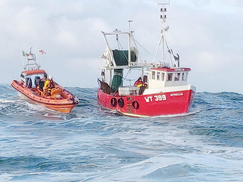 A ten metre trawler that was taking on water and in danger of sinking
