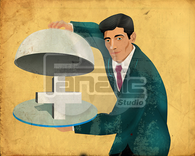 Conceptual shot of man with red cross in domed tray depicting healthcare
