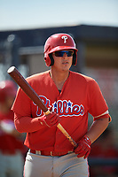 Philadelphia Phillies Abrahan Gutierrez (3) at bat during a Florida Instructional League game against the New York Yankees on October 11, 2018 at Yankee Complex in Tampa, Florida.  (Mike Janes/Four Seam Images)