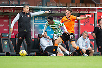 22nd August 2020; Tannadice Park, Dundee, Scotland; Scottish Premiership Football, Dundee United versus Celtic; Jeremie Frimpong of Celtic goes past Logan Chalmers of Dundee United along the wing