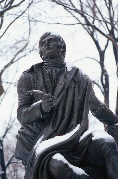 AVAILABLE FROM JEFF AS A FINE ART PRINT.<br /> <br /> AVAILABLE FROM GETTY IMAGES FOR EDITORIAL AND COMMERCIAL LICENSING.  Please go to www.gettyimages.com and search for image # 200418071-001.<br /> <br /> Statue of Robert Burns with Snow, Poets Walk - Central Park, New York City, New York State, USA