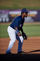 AZL Brewers Blue third baseman Jackie Urbaez (8) during an Arizona League game against the AZL Athletics Gold on July 2, 2019 at American Family Fields of Phoenix in Phoenix, Arizona. AZL Athletics Gold defeated the AZL Brewers Blue 11-8. (Zachary Lucy/Four Seam Images)