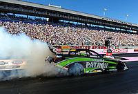 Oct. 30, 2011; Las Vegas, NV, USA: NHRA funny car driver Alexis DeJoria during the Big O Tires Nationals at The Strip at Las Vegas Motor Speedway. Mandatory Credit: Mark J. Rebilas-