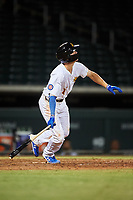 Mesa Solar Sox Jared Young (17), of the Chicago Cubs organization, at bat during an Arizona Fall League game against the Peoria Javelinas on September 21, 2019 at Sloan Park in Mesa, Arizona. Mesa defeated Peoria 4-1. (Zachary Lucy/Four Seam Images)