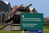 Thursday 15 June 2017<br /> Pictured: The entrance to the training base <br /> Re: A soldier has been killed and three others injured after an incident involving a tank at a Ministry of Defence base in Pembrokeshire.<br /> The soldier, from the Royal Tank Regiment, died in the incident at Castlemartin Range.<br /> Two people were taken to Morriston Hospital in Swansea, while another casualty remains in Cardiff's University Hospital of Wales.<br /> An investigation is under way.<br /> Live firing was scheduled to take place at the range between Monday and Friday.<br /> In May 2012, Ranger Michael Maguire died during a live firing exercise at the training base. An inquest later found he was unlawfully killed.