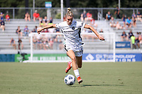 CARY, NC - SEPTEMBER 12: Christen Westphal #18 of the Portland Thorns FC plays the ball during a game between Portland Thorns FC and North Carolina Courage at Sahlen's Stadium at WakeMed Soccer Park on September 12, 2021 in Cary, North Carolina.