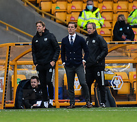Fulham manager Scott Parker (centre) and Goalkeeping Coach Rob Burch (left) and Assistant Manager Stuart Gray (right) <br /> <br /> Photographer David Horton/CameraSport<br /> <br /> The Premier League - Wolverhampton Wanderers v Fulham - Sunday 4th October 2020 - Molineux Stadium - Wolverhampton<br /> <br /> World Copyright © 2020 CameraSport. All rights reserved. 43 Linden Ave. Countesthorpe. Leicester. England. LE8 5PG - Tel: +44 (0) 116 277 4147 - admin@camerasport.com - www.camerasport.com
