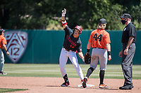 STANFORD, CA - MAY 29: Christian Robinson during a game between Oregon State University and Stanford Baseball at Sunken Diamond on May 29, 2021 in Stanford, California.