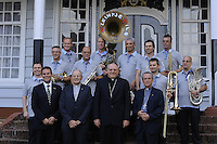 Bishop of Paramaribo Monseigneur Wilhelmus Adrianus Josephus Maria de Bekker,  Bishop of Rotterdam Monseigneur Drs. A.H. van Luyn s.d.b. poses together with Kleintje Pils, typical Dutch band members.....Blessing and First Worship of ST. Petrus and Paulus Cathedral (AKA World's largest wooden cathedral)