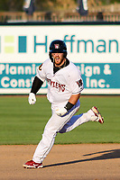 Wisconsin Timber Rattlers catcher Thomas Dillard (17) rounds the bases after hitting a walk-off home run during a game against the West Michigan Whitecaps on May 22, 2021 at Neuroscience Group Field at Fox Cities Stadium in Grand Chute, Wisconsin.  (Brad Krause/Four Seam Images)