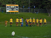 The Australia team waits for the final conversion attempt during the 2017 International Women's Rugby Series rugby match between England Roses and Australia Wallaroos at Porirua Park in Wellington, New Zealand on Friday, 9 June 2017. Photo: Dave Lintott / lintottphoto.co.nz