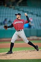 Sacramento River Cats starting pitcher Ty Blach (31) delivers a pitch to the plate against the Salt Lake Bees  at Smith's Ballpark on April 12, 2019 in Salt Lake City, Utah. The River Cats defeated the Bees 4-2. (Stephen Smith/Four Seam Images)