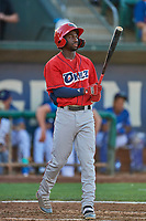 D'Shawn Knowles (32) of the Orem Owlz at bat against the Ogden Raptors at Lindquist Field on September 3, 2019 in Ogden, Utah. The Raptors defeated the Owlz 12-0. (Stephen Smith/Four Seam Images)