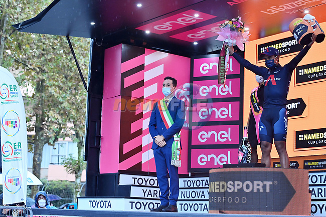 Jhonatan Manuel Narvaez Prado (ECU) Ineos Grenadies wins solo Stage 12 of the 103rd edition of the Giro d'Italia 2020 running 204km from Cesenatico to Cesenatico, Italy. 15th October 2020.  <br /> Picture: LaPresse/Gian Mattia D'Alberto | Cyclefile<br /> <br /> All photos usage must carry mandatory copyright credit (© Cyclefile | LaPresse/Gian Mattia D'Alberto)