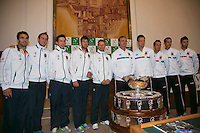 30-01-2014,Czech Republic, Ostrava, Cez Arena, Davis Cup, Czech Republic vs Netherlands, draw, city hall, The Dutch and Czech teams together with the Davis Cup, l.t.r.: Jean-Julien Rojer, Thiemo de Bakker, Igor Sijsling, Robin Haase and captain Jan Siemering from the Dutch team and captain Jaroslav Navrátil, Tomas Berdych and Radek Stepanek, Lukáš Rosol and Jiří Veselý from the Czech team.<br /> Photo: Henk Koster