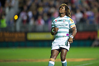 20120803 Copyright onEdition 2012©.Free for editorial use image, please credit: onEdition..Marland Yarde of London Irish watches his conversion attempt against Bath Rugby 7s at The Recreation Ground, Bath in the Final round of The J.P. Morgan Asset Management Premiership Rugby 7s Series...The J.P. Morgan Asset Management Premiership Rugby 7s Series kicked off again for the third season on Friday 13th July at The Stoop, Twickenham with Pool B being played at Edgeley Park, Stockport on Friday, 20th July, Pool C at Kingsholm Gloucester on Thursday, 26th July and the Final being played at The Recreation Ground, Bath on Friday 3rd August. The innovative tournament, which involves all 12 Premiership Rugby clubs, offers a fantastic platform for some of the country's finest young athletes to be exposed to the excitement, pressures and skills required to compete at an elite level...The 12 Premiership Rugby clubs are divided into three groups for the tournament, with the winner and runner up of each regional event going through to the Final. There are six games each evening, with each match consisting of two 7 minute halves with a 2 minute break at half time...For additional images please go to: http://www.w-w-i.com/jp_morgan_premiership_sevens/..For press contacts contact: Beth Begg at brandRapport on D: +44 (0)20 7932 5813 M: +44 (0)7900 88231 E: BBegg@brand-rapport.com..If you require a higher resolution image or you have any other onEdition photographic enquiries, please contact onEdition on 0845 900 2 900 or email info@onEdition.com.This image is copyright the onEdition 2012©..This image has been supplied by onEdition and must be credited onEdition. The author is asserting his full Moral rights in relation to the publication of this image. Rights for onward transmission of any image or file is not granted or implied. Changing or deleting Copyright information is illegal as specified in the Copyright, Design and Patents Act 1988. If you are in any way unsure of your right