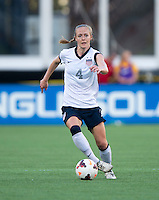 Becky Sauerbrunn (4) of the USWNT brings the ball forward during an international friendly at the Florida Citrus Bowl in Orlando, FL.  The USWNT defeated Brazil, 4-1.