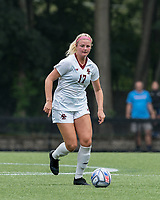 NEWTON, MA - AUGUST 29: Abby McNamara #17 of Boston College brings the ball forward during a game between University of Connecticut and Boston College at Newton Campus Soccer Field on August 29, 2021 in Newton, Massachusetts.