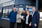 Eoin O'Flynn (R) Marketing manager Flogas Ireland presenting a cheque to (l to R) Michael Grogan Anne Dowd Natasha Roche and Lisa Kearney of Vincents outside their new shop premises in Bettystown.<br /> Picture Fran Caffrey   Newsfile