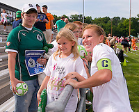 St Louis Athletica midfielder Lori Chalupny (17) poses for a picture after a WPS match at Anheuser-Busch Soccer Park, in St. Louis, MO, June 7, 2009. Athletica won the match 1-0.