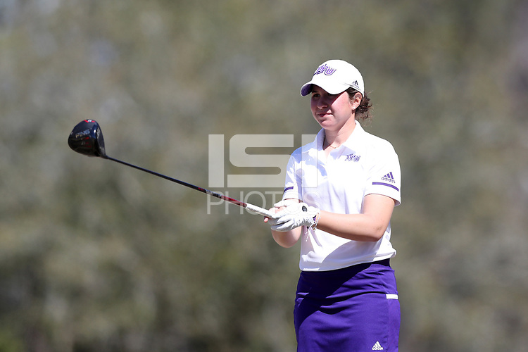 WALLACE, NC - MARCH 09: Sarah Kahn of High Point University tees off on the 15th hole of the River Course at River Landing Country Club on March 09, 2020 in Wallace, North Carolina.