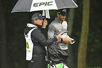 11th July 2021, Silvis, IL, USA; Patrick Rodger goes over his notes on how to play the #6 hole during the final round of the John Deere Classic on July 11, 2021, at TPC Deere Run, Silvis, IL.