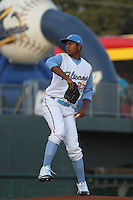 Myrtle Beach Pelicans pitcher Victor Payano #27 during a game against the Wilmington Blue Rocks at Ticketreturn.com Field at Pelicans Ballpark on April 6, 2013 in Myrtle Beach, South Carolina. Myrtle Beach defeated Wilmington 5-0. (Robert Gurganus/Four Seam Images)