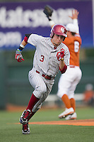 Oklahoma Sooners outfielder Craig Aikin #3 runs to third base against the Texas Longhorns in the NCAA baseball game on April 5, 2013 at UFCU DischFalk Field in Austin Texas. Oklahoma defeated Texas 2-1. (Andrew Woolley/Four Seam Images).