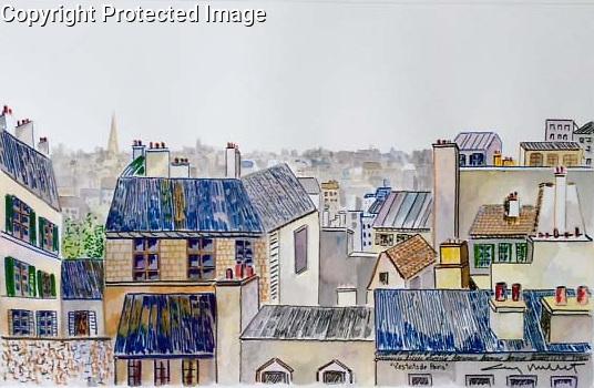 Les Toits de Paris<br /> 14x22 Watercolor on Paper<br /> $5,000