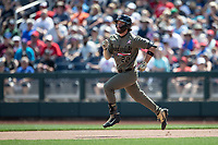 Vanderbilt Commodores first baseman Julian Infante (22) runs to second base during Game 3 of the NCAA College World Series against the Louisville Cardinals on June 16, 2019 at TD Ameritrade Park in Omaha, Nebraska. Vanderbilt defeated Louisville 3-1. (Andrew Woolley/Four Seam Images)