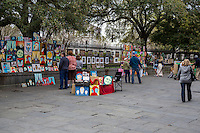 French Quarter, New Orleans, Louisiana.  Art Work for Sale along Jackson Square.