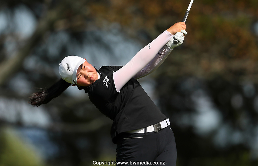 Fiona Xu during the New Zealand Amateur Golf Championship, Poverty Bay Golf Course, Awapuni Links, Gisborne, Saturday 24 October 2020. Photo: Simon Watts/www.bwmedia.co.nz