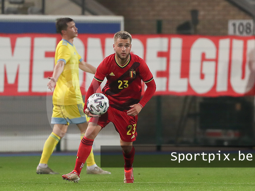 Nicolas Raskin (23) of Belgium with the ball during a soccer game between the national teams Under21 Youth teams of Belgium and Kazakhstan on the third matday in group I for the qualification for the Under 21 EURO 2023 , on friday 8 th of october 2021  in Leuven , Belgium . PHOTO SPORTPIX | SEVIL OKTEM
